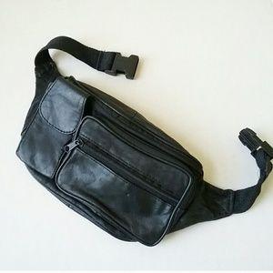"""Vintage Black Leather Fanny Pack Belt Bag size 24"""""""